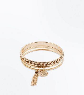 Gold Chunky Chain Tassel Front Bangle Pack