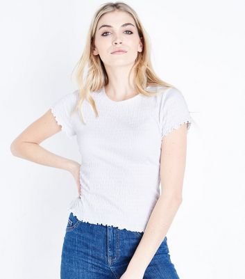 Tall White Shirred Short Sleeve T-Shirt