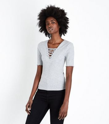 Tall Grey Lace-Up Neck T-Shirt