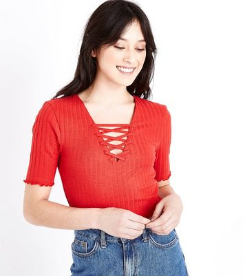 Tall Red Lace Up Neck T-Shirt