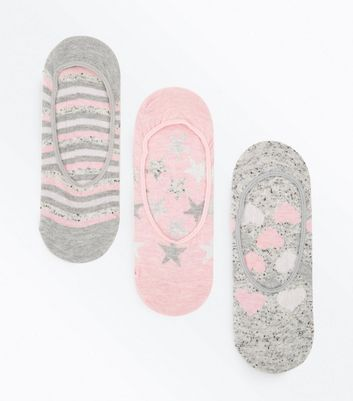 3 Pack Grey and Pink Glitter Patterned Pop Socks