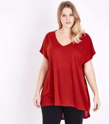 Curves Dark Red Split Back Oversized T-Shirt