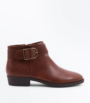 Tan Buckle Strap Side Ankle Boots