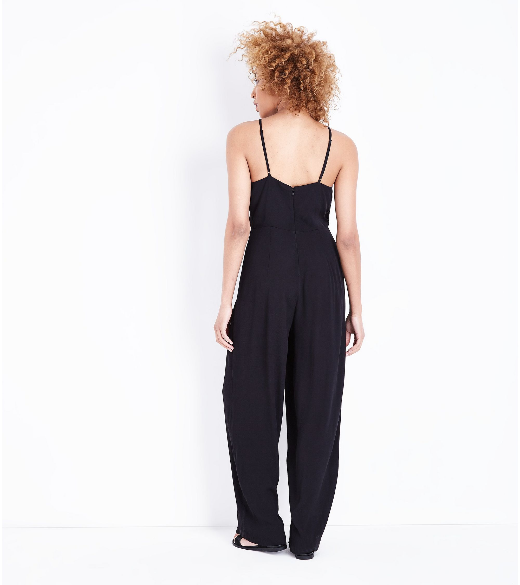 7effeba2b2 New Look Black Floral Embroidered Wide Leg Jumpsuit at £29.99