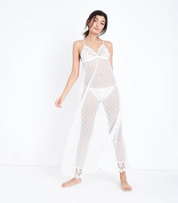 New Look White Guipure Lace Spot Mesh Slip Cheap Buy 3udhxWFrFD
