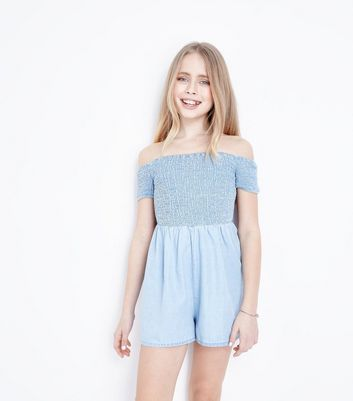 Teens Pale Blue Shirred Playsuit