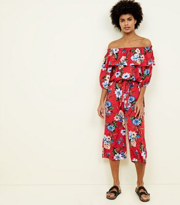 Blue Vanilla Red Floral Culottes