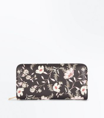 Black Floral Leather-Look Purse