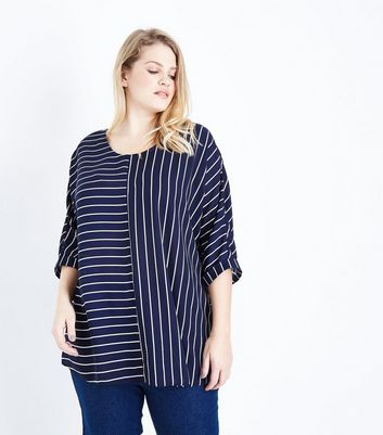 Curves Blue Contrast Stripe T-Shirt