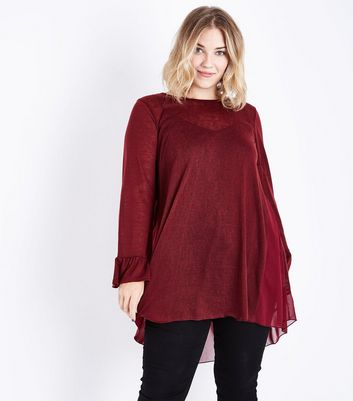 Blue Vanilla Curves Dark Red Split Back Chiffon Top