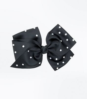 Black Diamante Embellished Hair Bow