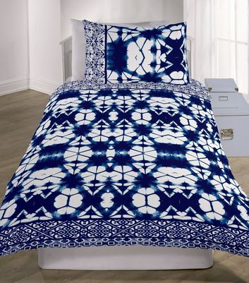 Navy Shibori Tie Dye Single Duvet Set by New Look