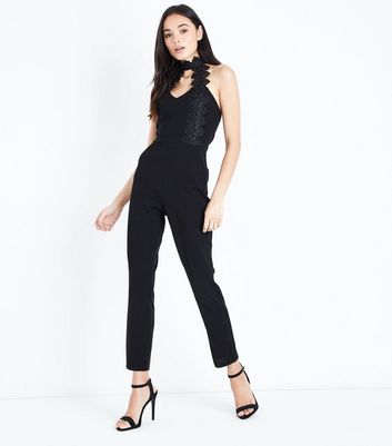 Ax Paris Black Crochet Trim Choker Neck Jumpsuit by New Look