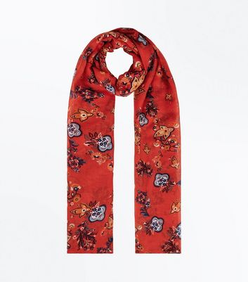 Red Floral Longline Scarf