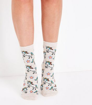 Cream Unicorn Flower Socks