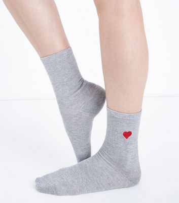 Grey Embroidered Heart Side Socks