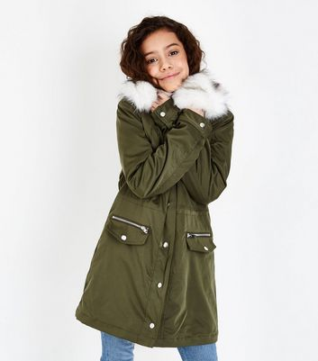 Teens Khaki Faux Fur Trim Parka