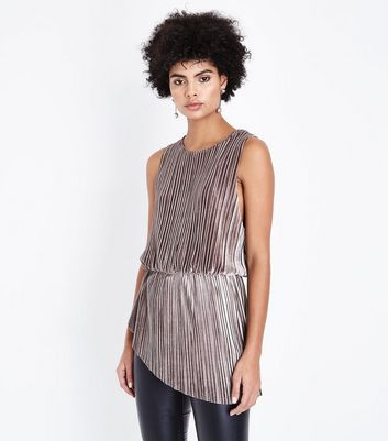 AX Paris Grey Pleated Velvet Asymmetric Top