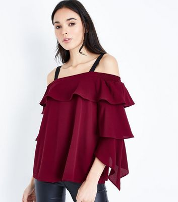 AX Paris Burgundy Cold Shoulder Tiered Sleeve Top