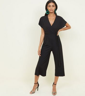 Black Ribbed Wrap Front Culotte Jersey Jumpsuit
