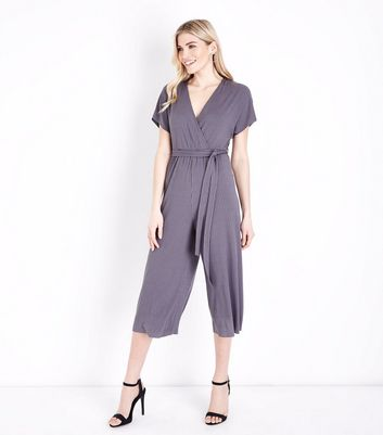 Grey Ribbed Wrap Front Culotte Jersey Jumpsuit