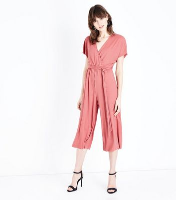 Rust Ribbed Wrap Front Jersey Culotte Jumpsuit