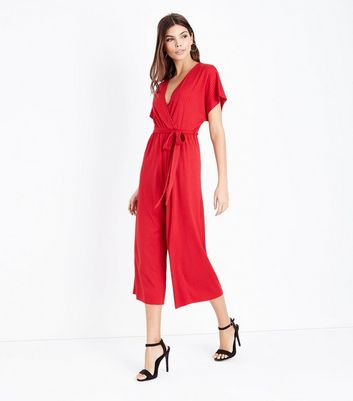 Red Ribbed Wrap Front Culotte Jumpsuit