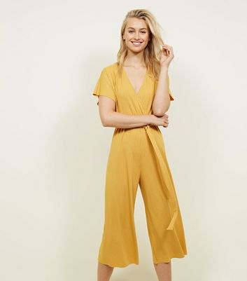Mustard Ribbed Wrap Front Culotte Jumpsuit