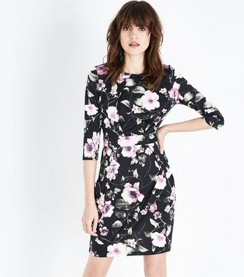 Black Floral 3/4 Sleeve Tulip Dress