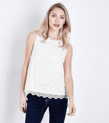 Petite Cream Floral Lace Sleeveless Top