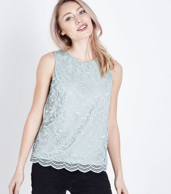 Petite Green Floral Lace Sleeveless Top