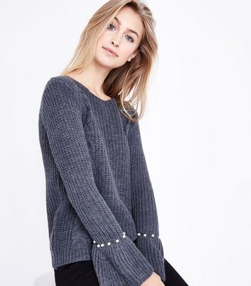 Mela Dark Grey Pearl Cuff Cable Knit Jumper