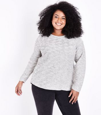 Curves Grey Long Sleeve Jumper