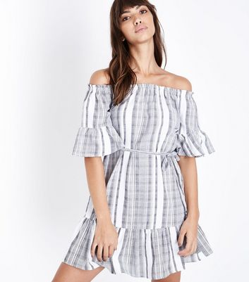 Grey Woven Stripe Tassel Belt Bardot Dress