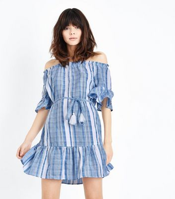Blue Woven Stripe Tassel Belt Bardot Dress