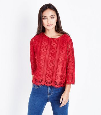 Petite Red Lace Scallop Hem Top