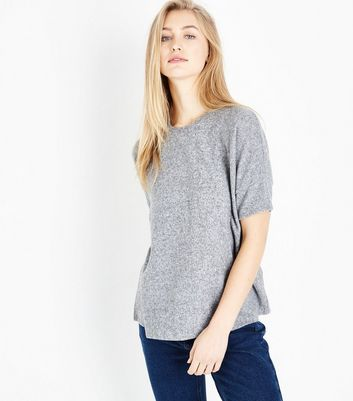 Grey Marl Brushed Oversized T-Shirt