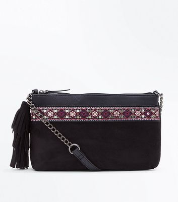 Black Aztec Trim Cross Body Bag