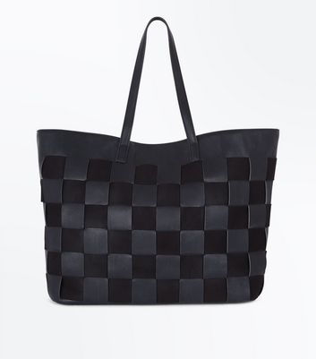 Black Square Woven Tote Bag
