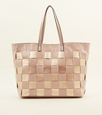 Nude Leather-Look Woven Tote Bag