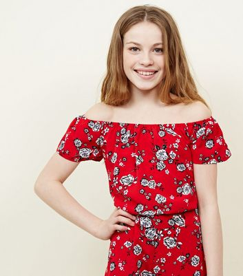Teens Red Floral Bardot Top