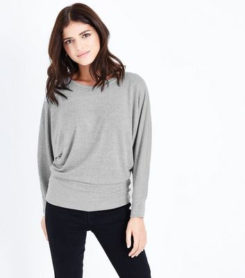Pale Grey Fine Knit Wide Hem Batwing Top