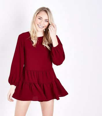 Petite Plum Balloon Sleeve Smock Playsuit
