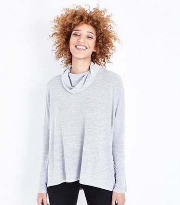 Pale Grey Cowl Neck Oversized Top