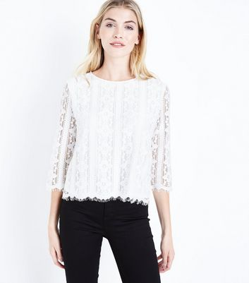 Tall Cream Lace Scallop Hem Top
