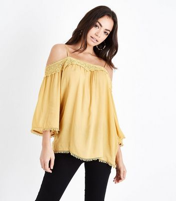 Tall Yellow Crochet Trim Cold Shoulder Top
