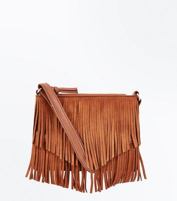 Tan Fringe Cross Body Bag