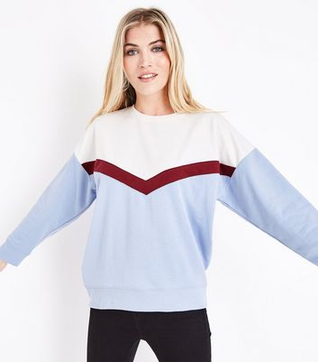Cream Chevron Colour Block Sweatshirt