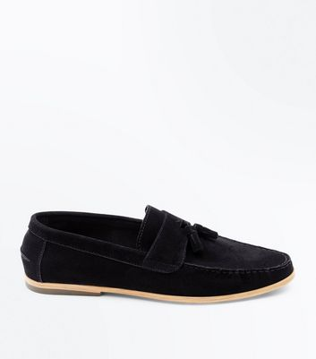 Black Faux Suede Tassel Loafers