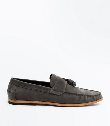 Grey Faux Suede Stitched Tassel Loafers